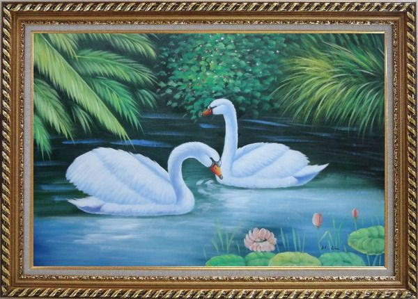Framed Lovely Pair of Swans in Pond With Lilies And Green Plants Oil Painting Animal Naturalism Exquisite Gold Wood Frame 30 x 42 Inches