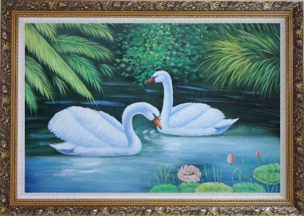 Framed Lovely Pair of Swans in Pond With Lilies And Green Plants Oil Painting Animal Naturalism Ornate Antique Dark Gold Wood Frame 30 x 42 Inches