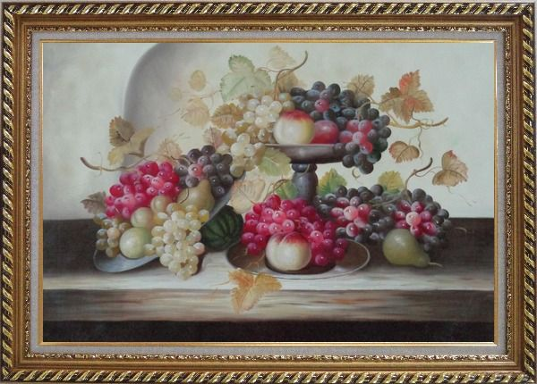 Framed Still Life of Grapes,Peaches with Porcelain Bowl Oil Painting Fruit Classic Exquisite Gold Wood Frame 30 x 42 Inches