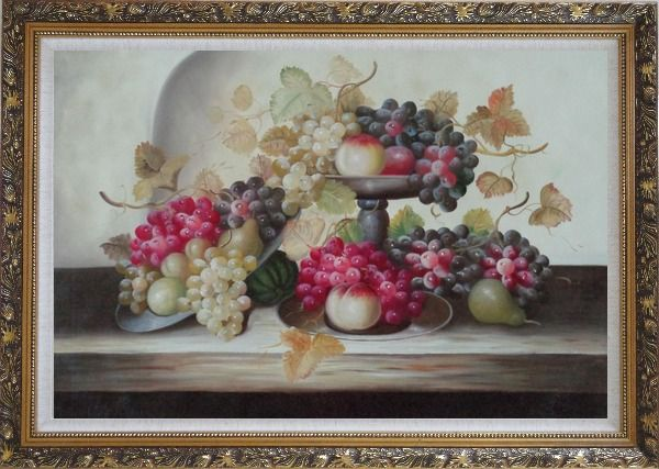Framed Still Life of Grapes,Peaches with Porcelain Bowl Oil Painting Fruit Classic Ornate Antique Dark Gold Wood Frame 30 x 42 Inches
