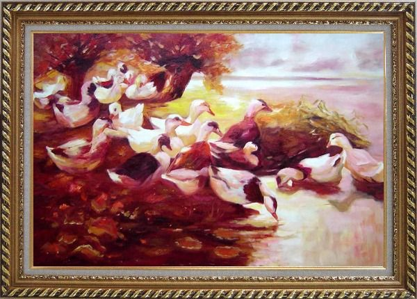Framed Ducks On a Lake in Autumn Oil Painting Animal Bird Impressionism Exquisite Gold Wood Frame 30 x 42 Inches