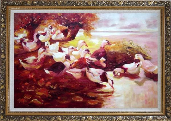 Framed Ducks On a Lake in Autumn Oil Painting Animal Bird Impressionism Ornate Antique Dark Gold Wood Frame 30 x 42 Inches