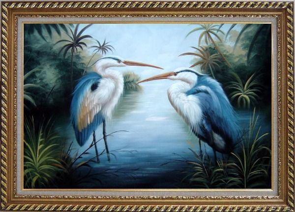 Framed Pair of Great Blue Herons in Lake Oil Painting Animal Bird Naturalism Exquisite Gold Wood Frame 30 x 42 Inches