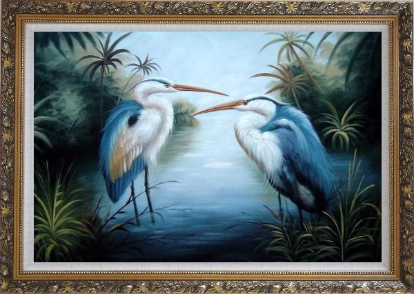Framed Pair of Great Blue Herons in Lake Oil Painting Animal Bird Naturalism Ornate Antique Dark Gold Wood Frame 30 x 42 Inches