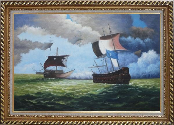 Framed 1800 Pirate Ships with Cannon Battle on Sea Oil Painting Boat Classic Exquisite Gold Wood Frame 30 x 42 Inches