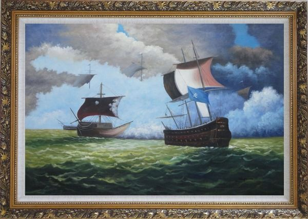 Framed 1800 Pirate Ships with Cannon Battle on Sea Oil Painting Boat Classic Ornate Antique Dark Gold Wood Frame 30 x 42 Inches