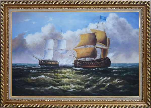 Framed Caribbean Pirate Ship Attack Merchant Ship in Sea Oil Painting Boat Classic Exquisite Gold Wood Frame 30 x 42 Inches