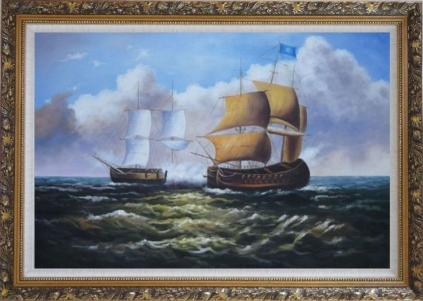 Framed Caribbean Pirate Ship Attack Merchant Ship in Sea Oil Painting Boat Classic Ornate Antique Dark Gold Wood Frame 30 x 42 Inches