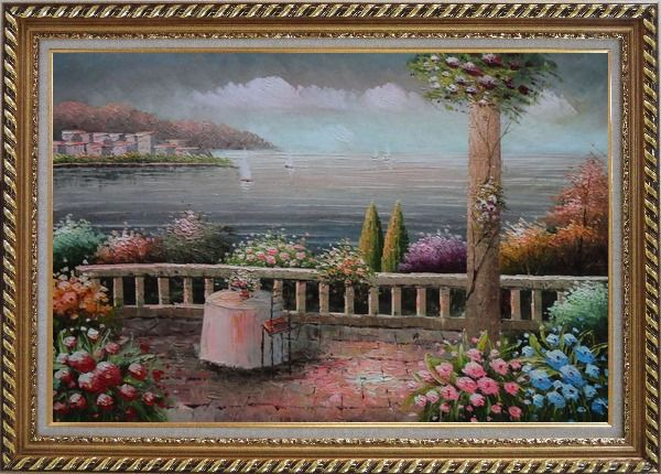 Framed Lovely Mediterranean Retreat Before Storm Oil Painting Naturalism Exquisite Gold Wood Frame 30 x 42 Inches