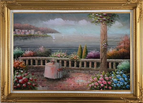 Framed Lovely Mediterranean Retreat Before Storm Oil Painting Naturalism Gold Wood Frame with Deco Corners 31 x 43 Inches
