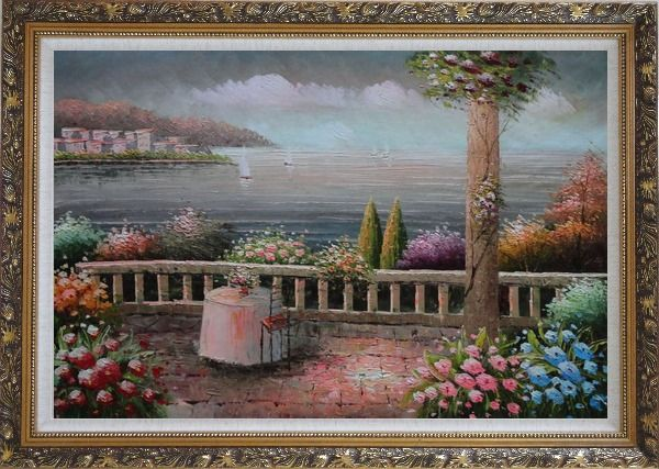 Framed Lovely Mediterranean Retreat Before Storm Oil Painting Naturalism Ornate Antique Dark Gold Wood Frame 30 x 42 Inches