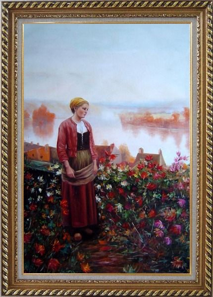Framed A Garden above the Seine Oil Painting Portraits Woman Classic Exquisite Gold Wood Frame 42 x 30 Inches