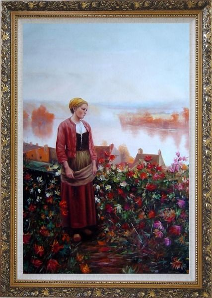 Framed A Garden above the Seine Oil Painting Portraits Woman Classic Ornate Antique Dark Gold Wood Frame 42 x 30 Inches