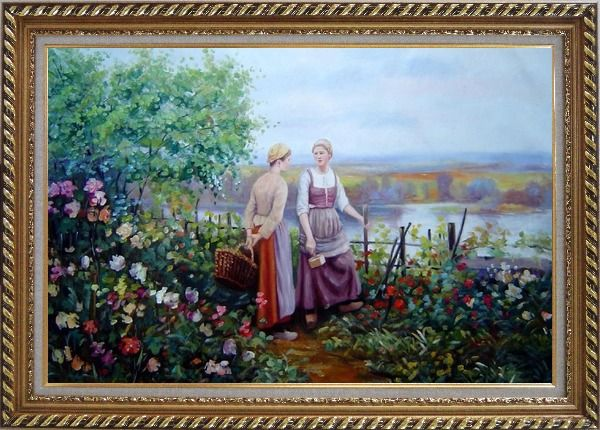 Framed Two Ladies Talking On The Terrace Oil Painting Portraits Woman Classic Exquisite Gold Wood Frame 30 x 42 Inches