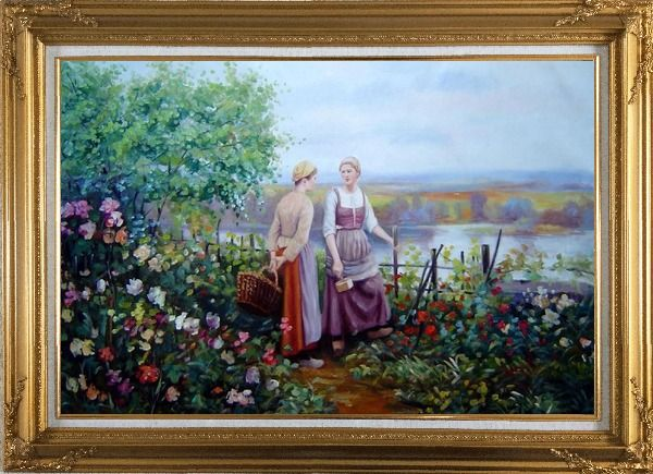 Framed Two Ladies Talking On The Terrace Oil Painting Portraits Woman Classic Gold Wood Frame with Deco Corners 31 x 43 Inches