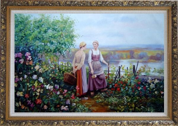 Framed Two Ladies Talking On The Terrace Oil Painting Portraits Woman Classic Ornate Antique Dark Gold Wood Frame 30 x 42 Inches