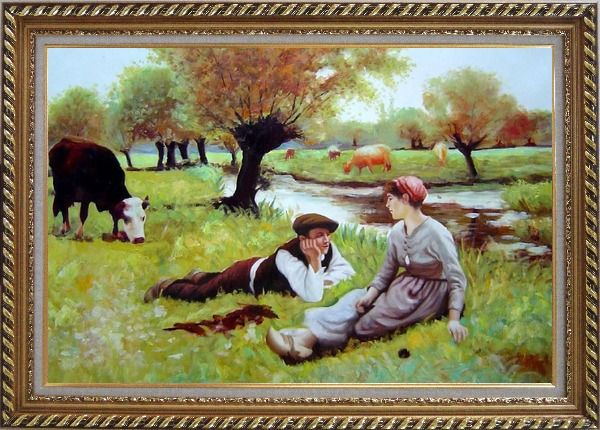 Framed Flirting Oil Painting Portraits Couple Classic Exquisite Gold Wood Frame 30 x 42 Inches