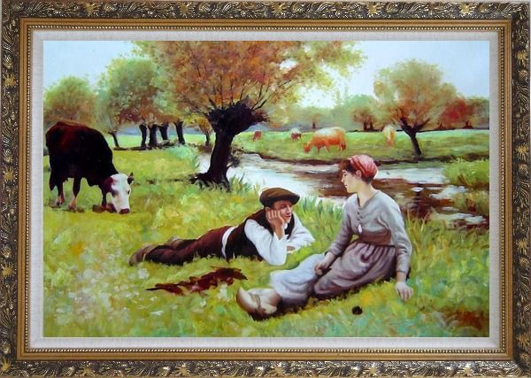Framed Flirting Oil Painting Portraits Couple Classic Ornate Antique Dark Gold Wood Frame 30 x 42 Inches
