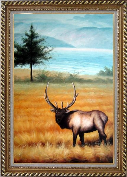 Framed Male Bull Elk in Golden Autumn Field Oil Painting Animal Deer Classic Exquisite Gold Wood Frame 42 x 30 Inches