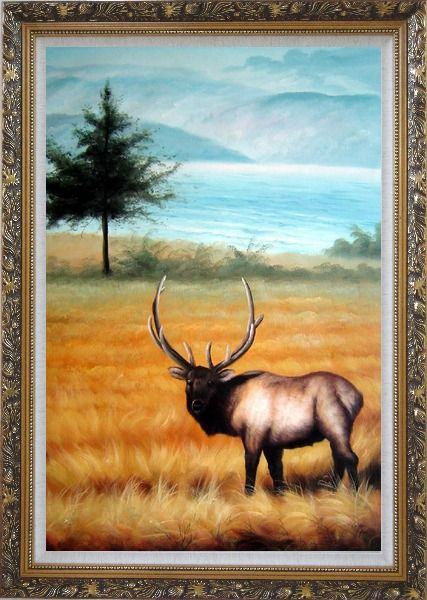 Framed Male Bull Elk in Golden Autumn Field Oil Painting Animal Deer Classic Ornate Antique Dark Gold Wood Frame 42 x 30 Inches