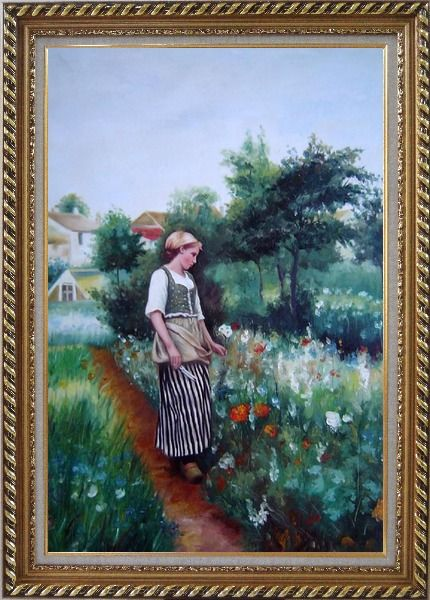 Framed A New Day In the Garden Oil Painting Portraits Woman Classic Exquisite Gold Wood Frame 42 x 30 Inches