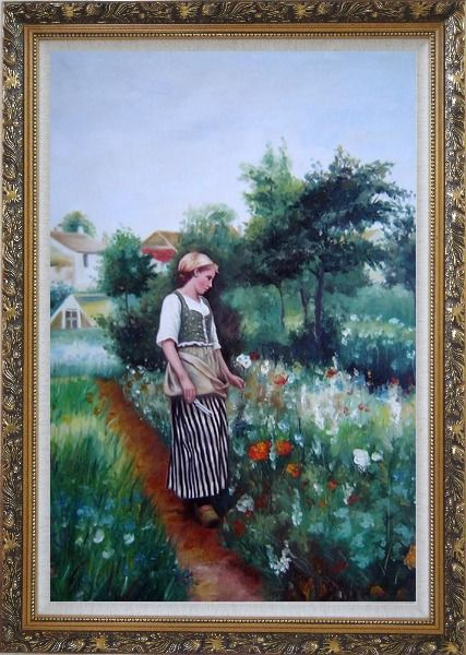 Framed A New Day In the Garden Oil Painting Portraits Woman Classic Ornate Antique Dark Gold Wood Frame 42 x 30 Inches