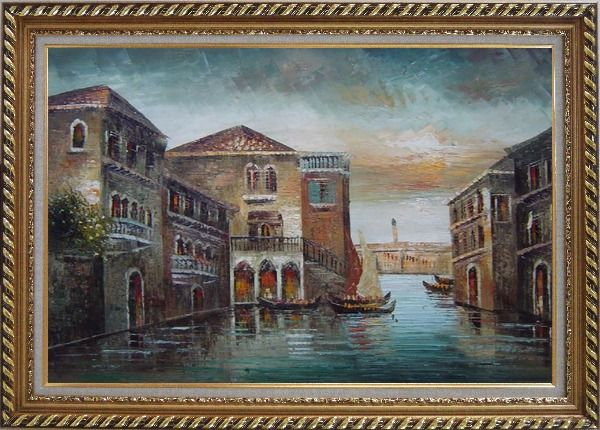 Framed Romantic Venice in my Memory Oil Painting Italy Naturalism Exquisite Gold Wood Frame 30 x 42 Inches