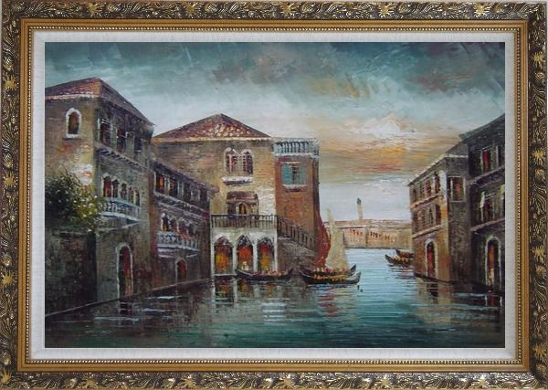 Framed Romantic Venice in my Memory Oil Painting Italy Naturalism Ornate Antique Dark Gold Wood Frame 30 x 42 Inches