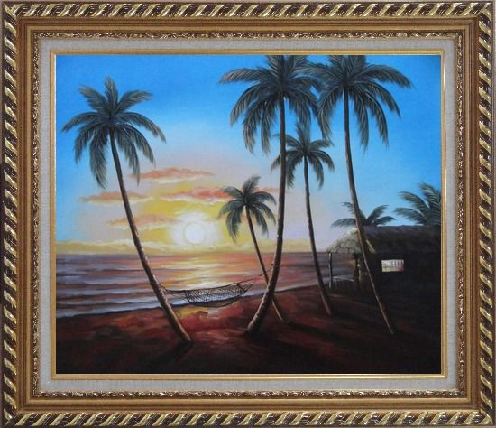 Framed Hawaii Retreat with Palm Trees on Sunset Oil Painting Seascape America Naturalism Exquisite Gold Wood Frame 26 x 30 Inches