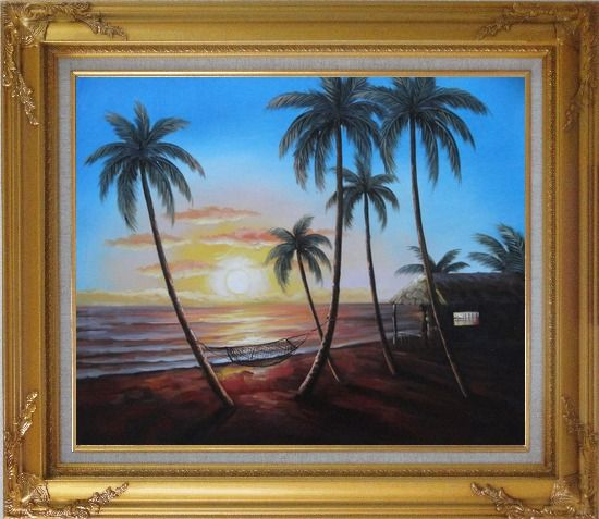 Framed Hawaii Retreat with Palm Trees on Sunset Oil Painting Seascape America Naturalism Gold Wood Frame with Deco Corners 27 x 31 Inches