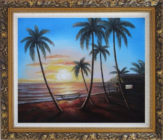 Framed Hawaii Retreat with Palm Trees on Sunset Oil Painting Seascape America Naturalism Ornate Antique Dark Gold Wood Frame 26 x 30 Inches