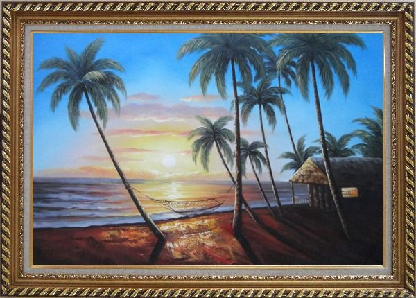 Framed Hawaii Retreat with Palm Trees on Sunset Oil Painting Seascape America Naturalism Exquisite Gold Wood Frame 30 x 42 Inches