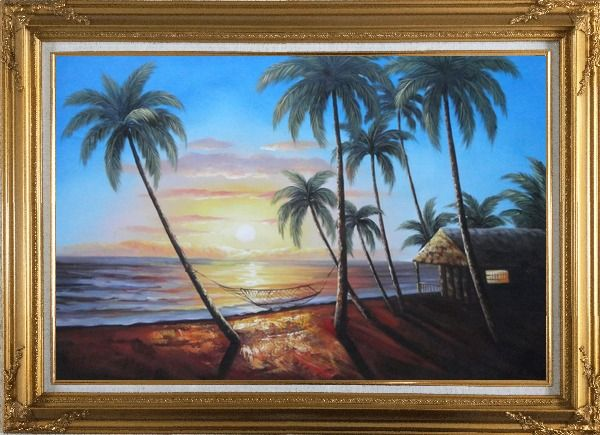 Framed Hawaii Retreat with Palm Trees on Sunset Oil Painting Seascape America Naturalism Gold Wood Frame with Deco Corners 31 x 43 Inches