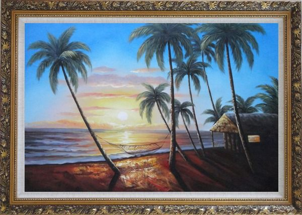Framed Hawaii Retreat with Palm Trees on Sunset Oil Painting Seascape America Naturalism Ornate Antique Dark Gold Wood Frame 30 x 42 Inches