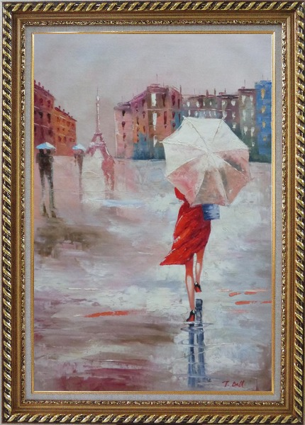 Framed Modern Lady with Red Walking Under Umbrella in Paris Street with Eiffel Tower in View Oil Painting Portraits Woman Impressionism Exquisite Gold Wood Frame 42 x 30 Inches