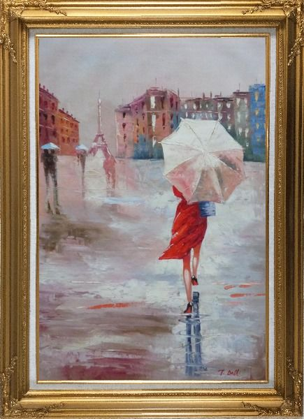 Framed Modern Lady with Red Walking Under Umbrella in Paris Street with Eiffel Tower in View Oil Painting Portraits Woman Impressionism Gold Wood Frame with Deco Corners 43 x 31 Inches