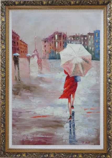 Framed Modern Lady with Red Walking Under Umbrella in Paris Street with Eiffel Tower in View Oil Painting Portraits Woman Impressionism Ornate Antique Dark Gold Wood Frame 42 x 30 Inches