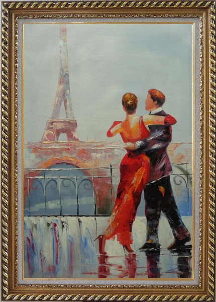 Framed Romantic Dance at Bank of Seine under Eiffel Tower Oil Painting Portraits Couple Impressionism Exquisite Gold Wood Frame 42 x 30 Inches