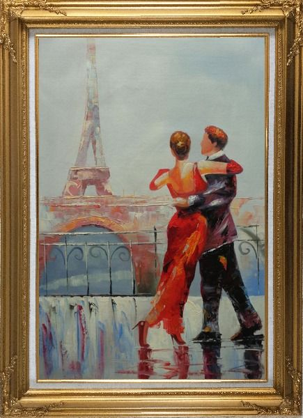 Framed Romantic Dance at Bank of Seine under Eiffel Tower Oil Painting Portraits Couple Impressionism Gold Wood Frame with Deco Corners 43 x 31 Inches
