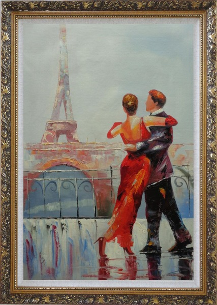 Framed Romantic Dance at Bank of Seine under Eiffel Tower Oil Painting Portraits Couple Impressionism Ornate Antique Dark Gold Wood Frame 42 x 30 Inches