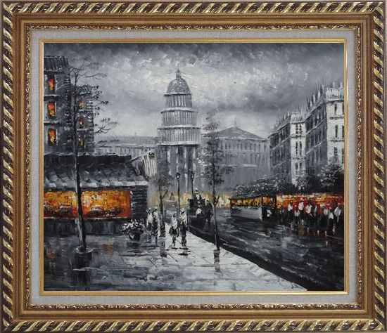 Framed Black and White Washington D.C Cityscape Oil Painting America Impressionism Exquisite Gold Wood Frame 26 x 30 Inches