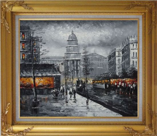 Framed Black and White Washington D.C Cityscape Oil Painting America Impressionism Gold Wood Frame with Deco Corners 27 x 31 Inches
