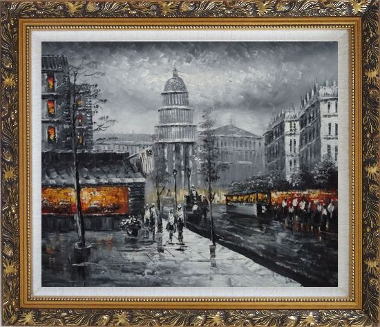 Framed Black and White Washington D.C Cityscape Oil Painting America Impressionism Ornate Antique Dark Gold Wood Frame 26 x 30 Inches