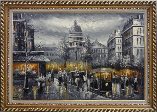 Framed Black and White Washington D.C Cityscape Oil Painting America Impressionism Exquisite Gold Wood Frame 30 x 42 Inches