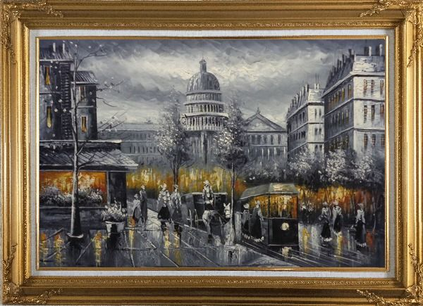 Framed Black and White Washington D.C Cityscape Oil Painting America Impressionism Gold Wood Frame with Deco Corners 31 x 43 Inches