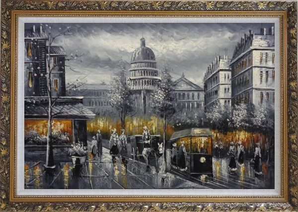 Framed Black and White Washington D.C Cityscape Oil Painting America Impressionism Ornate Antique Dark Gold Wood Frame 30 x 42 Inches