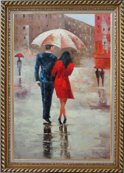 Framed Romantic Young Couple in Blue and Red Walking Under Umbrella in Rain Street Oil Painting Portraits Impressionism Exquisite Gold Wood Frame 42 x 30 Inches