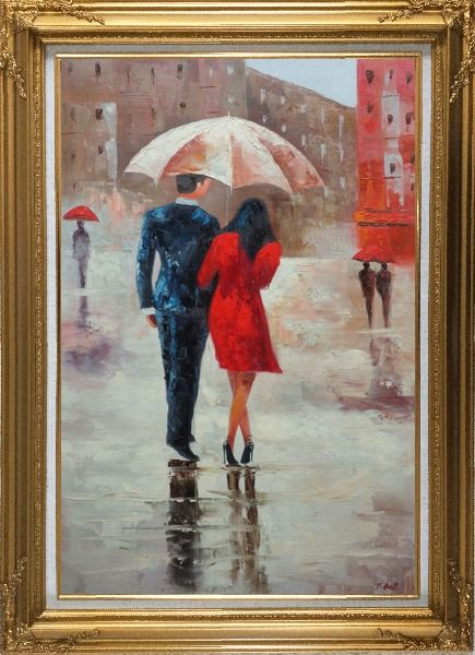 Framed Romantic Young Couple in Blue and Red Walking Under Umbrella in Rain Street Oil Painting Portraits Impressionism Gold Wood Frame with Deco Corners 43 x 31 Inches