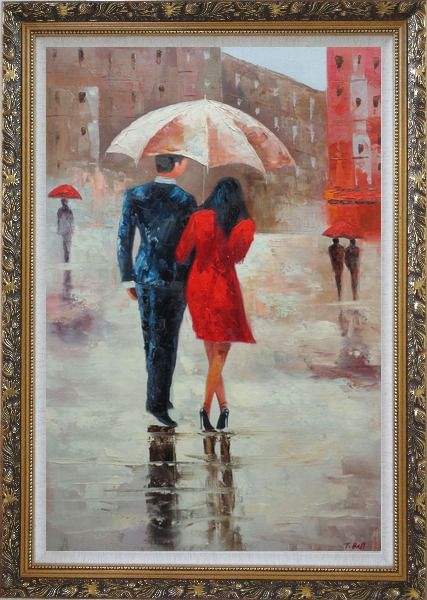 Framed Romantic Young Couple in Blue and Red Walking Under Umbrella in Rain Street Oil Painting Portraits Impressionism Ornate Antique Dark Gold Wood Frame 42 x 30 Inches