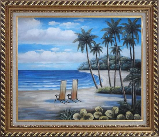 Framed Two Chairs at the Hawaii Beach with Palm Trees Oil Painting Seascape America Naturalism Exquisite Gold Wood Frame 26 x 30 Inches